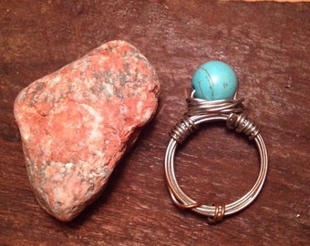 Turquoise metal wire wrapped ring
