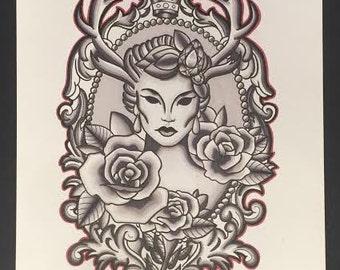 Fawn Prismacolor Print