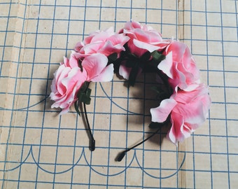 Large Pink Rose Flower Headband, Spring Summer Accessory Headwear Crown Tumblr Support Local Shop Local