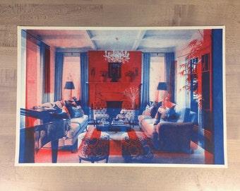 2 Livingrooms #3  - original risograph -