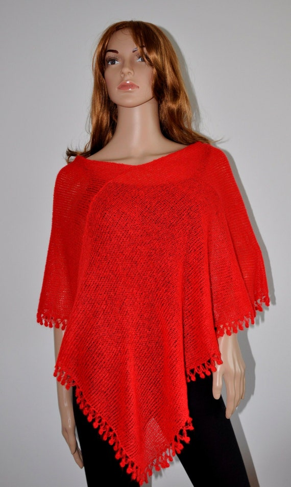 Wool knit poncho, red poncho, red sweater,  Hand knitted poncho, Knitted jumper, Women Poncho, Mohair yarn, Ready to Ship