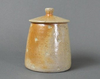 Lidded jar, wood fired stoneware