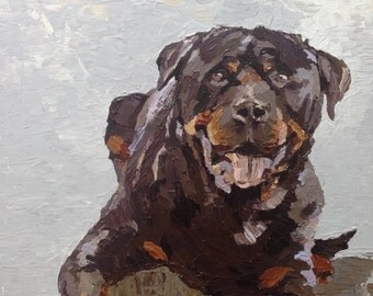 Rottweiler Painting, Large Abstract Dog Art, Rottweiler Gift, Rottweiler Art, Dog Art Custom, Animal Art, Pet Portrait Painting