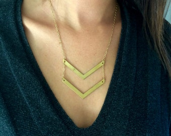 Brass Chevron Necklace, V Necklace, Double V Necklace, Monogram Necklace, Golden Arrow Necklace, Personalized Gift, Geometric Necklace