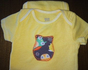 Owl hand dyed, hand stitched bodysuit 3-6 months
