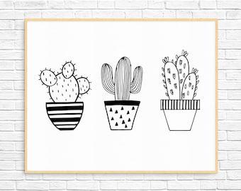 Cactus Print - Hand Drawn - Black + White - Wall Print//Home Decor - Digital Download//Printable