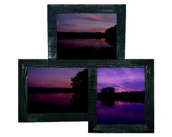 3 Opening Triple 8x10 Offset Barnwood Collage Picture Frame