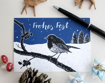 Christmas card robin, merry christmas card, forest animal illustration, bird, scratchboard, seasons greetings, black, blue, happy holidays