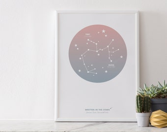 A4 Personalised Constellation Print : Wedding/Couple