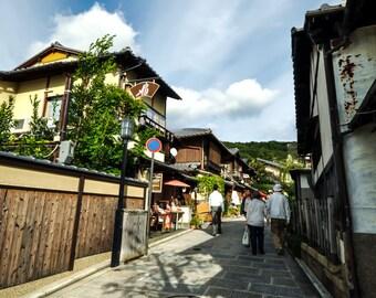 Kyoto Canvas Print, Japan Wall Decor, Kyoto Street Photo, Black And White, Kyoto Photo Art, Home Decoration, Bluebird Sky