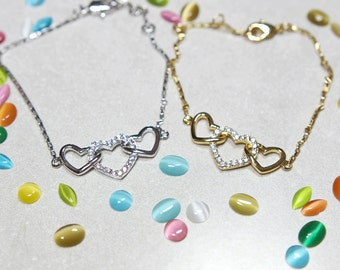 3 Hearts Bracelet in Gold and Silver with Zircons