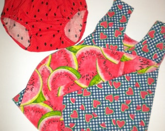 Only 1 available: Watermelon dress with matching Diaper Cover, Pinafore, Reversible, Cris Cross back