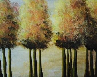 AUTUMN TREES - Abstract - Acrylic Painting - 12 x 16 Canvas -  Wall Art - Whimsical - Folk