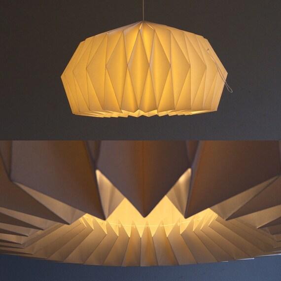 Zurich origami papier schaduw. Hand-gevouwen lamp Wit