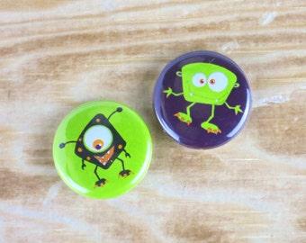 Monster badges (set of 2). Monster pin, Ideal Stocking filler, Party Bag filler, Monster Birthday