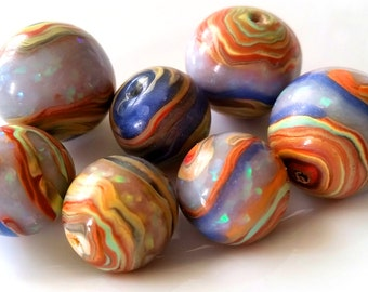 7 polymer clay beads round, colorful, floral, stone look faux Opal