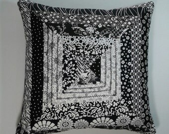 16 x 16 Whimsical Black and White Accent Pillow Cover