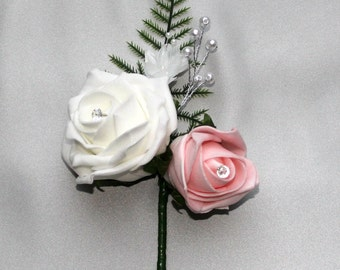 stunning artificial double button hole corsage. Foam rose ivory and blush pink