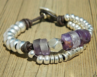 Wrap Boho bracelet,wrap bracelet,leather wrap bracelet,Amathyst bracelet,leather bracelet, silver plated,beaded bracelet,PP009