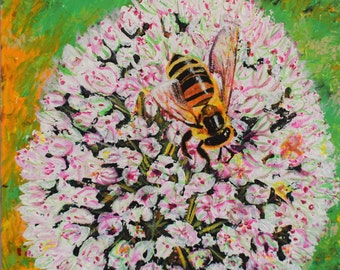 "Nature Bee Painting Art Acrylic Original // ""community"" 40x40x4cm Deep framed canvas  by JulietteAnne"