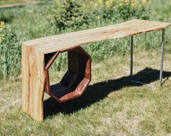 Handmade Modern Coffee Table : With Live Edge Olive Wood, Walnut And Metal Leg