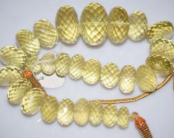 """1015 Cts.Beautiful Natural Lemon Quartz Rondelle Faceted Beads Necklace-Lemon Quartz Rondelle Faceted Necklace,13-30 mm,12""""-NL110"""