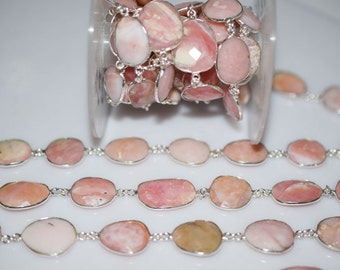 Beautiful Pink Opal Connector Chain-Pink Opal Faceted Connector Bezel Chain , 16-23 mm - RB5230