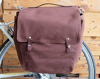 Rifecycle Bicycle Pannier Roll-Up Bags on Rear Rack Canvas Market Bag Touring BR