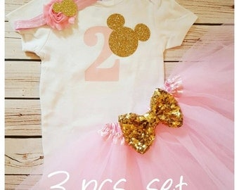 Minnie Mouse pink and gold tutu outfit,2nd Birthday Tutu outfit,Minnie Mouse birthday outfit,pink birthday tutu,girl birthday outfit