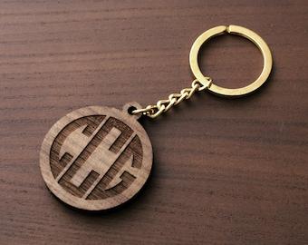 Monogram Keychain, Personalized Keychain, Personalized wooden keychain LWKC02