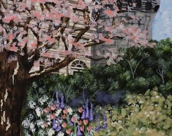 English Castle Acrylic Painting 8x10