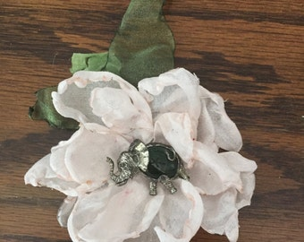 Pale Peach Fabric Flower Pin Hairpiece with Sterling Silver Vintage Elephant Centerpiece