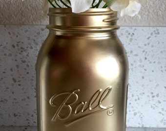 Matte Metallic Gold Mason Jar