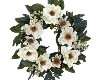 22 Inch Magnolia Wreath, Ready to Ship