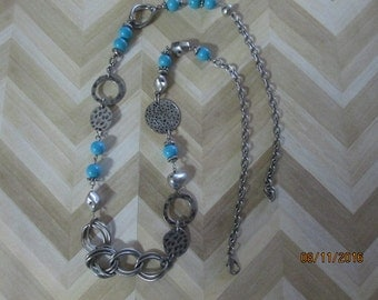 Genuine Turquoise necklace, turquoise jewelry, antique silver necklace