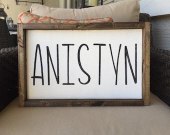 Wood Sign Custom Name 16x10 Plus Frame