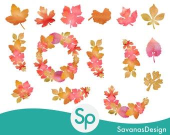 Watercolor Fall Clipart, Fall Watercolor Clipart, Autumn Watercolor Clipart, Watercolor Wreath Clipart, Watercolor Autumn