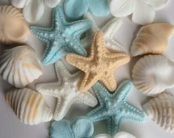 18 piece Edible Cake Toppers cupcake decorations beach starfish seashell frangipani set