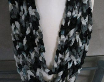 Crocheted Chunky Scarf Necklace in Black/grey/touch of blue