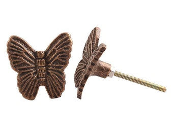 Antique Metal  Butterfly Butterflies Drawer Knob, Drawer Pull , Drawer Handle Cupboard Knob