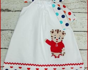 Cute Daniel the Tiger  Pillowcase style dress Rainbow Polka dot