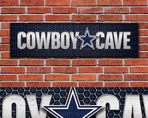 "Dallas Cowboys Cave - Mancave - 24 x 6"" Wood Sign - Perfect Father's Day - Perfect Dad Gift - Man Art - Football Fan - Sports Bar"