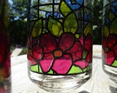 STAINED GLASS LIBBEY, 8, Drinking Glasses, 1970s, retro