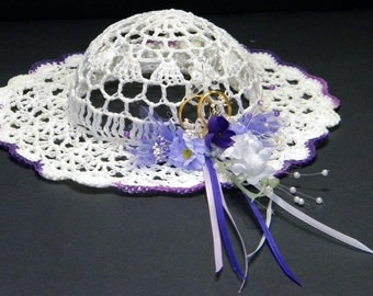 Flower Girl's Basket / Hat in White and Purple
