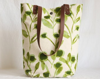 Totebag, canvas bag with leather handles