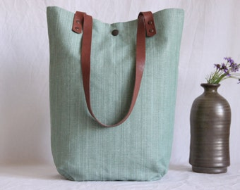 Shoulder bag with leather handles, canvas bag, hand-woven, lime green