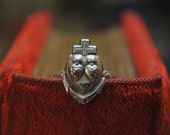 Solid Silver Antique Hope Faith Charity Three Virtues Ring