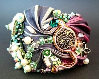 Bracelet, sequins, beads, silk