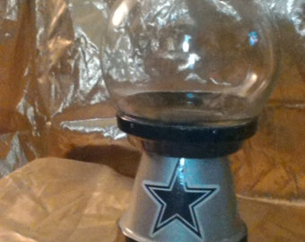 Dallas Cowboys inspired glass jar/candy dish/canister with lid.
