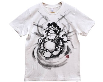 T-shirts Hearts of Kannon Japanese Sumi-e Art white Hnadmade Buddhism Zen